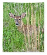 Deer Bedded Down In Grass Fleece Blanket