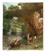 Deer By A River Fleece Blanket