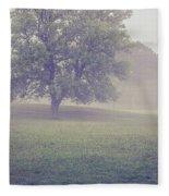 Deer By Barn On A Foggy Morning Fleece Blanket