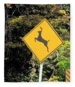 Deer Crossing Sign 2 Fleece Blanket