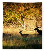 Deer Family In Sycamore Park Fleece Blanket