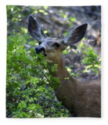 Deer Having Lunch Fleece Blanket