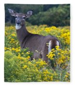 Deer In A Field Of Yellow Flowers Fleece Blanket