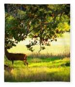 Deer In Autumn Meadow - Digital Painting Fleece Blanket