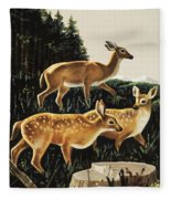 Deer In Forest Clearing Fleece Blanket