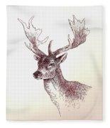 Deer In Ink Fleece Blanket