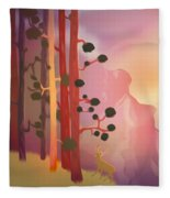 Deer In The Forest - Abstract And Colorful Mountains Fleece Blanket