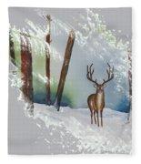 Deer In The Forest Fleece Blanket
