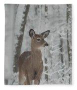 Deer In The Snow Fleece Blanket