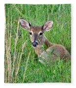 Deer Laying In Grass Fleece Blanket