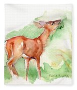 Deer Painting In Watercolor Fleece Blanket