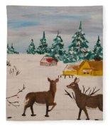 Deer Scene Fleece Blanket