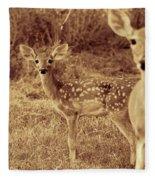 Deer Sepia V3 Fleece Blanket