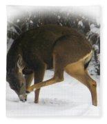 Deer With An Itch Fleece Blanket