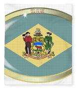 Delaware State Flag Oval Button Fleece Blanket