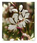 Delicate Gaura Flowers Fleece Blanket