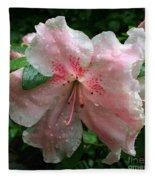 Delicate Pinks In Rain - Flower Photography Fleece Blanket