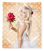 Delicate Young Woman Holding Flower Bunch Fleece Blanket