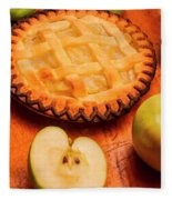 Delicious Apple Pie With Fresh Apples On Table Fleece Blanket