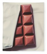 Delicious Chocolate Bar In Wrapping On Plate Fleece Blanket