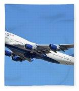 Delta Boeing 747-451 N667us Phoenix Sky Harbor October 7 2017  Fleece Blanket
