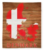 Denmark Rustic Map On Wood Fleece Blanket