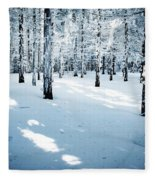 Dense Spruce Snowy Forest Fleece Blanket