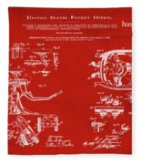 Dentists Chair Patent 1892 In Red Fleece Blanket