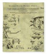 Dentists Chair Patent 1892 In Vintage  Fleece Blanket
