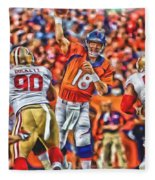 Denver Broncos Peyton Manning Oil Art Fleece Blanket