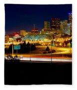 Denver Night Skyline Fleece Blanket