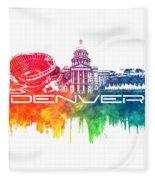 Denver Skyline City Color Fleece Blanket