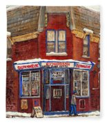 Depanneur De Montreal Pointe St Charles Best Original Montreal Paintings On Sale Peintures A Vendre  Fleece Blanket