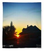 Depot At Sunset Fleece Blanket