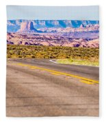 descending into Monument Valley at Utah  Arizona border  Fleece Blanket