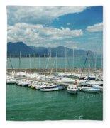 Desenzano Del Garda Lighthouse Italy Fleece Blanket
