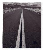 Desert Road Trip B W Fleece Blanket