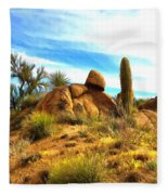 Desert Scene Near Sedona Arizona Painting Fleece Blanket