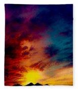 Desert Skull Of The Saguaro Sunset #3 Fleece Blanket