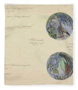 Design For A Brooch With Oriental Fruits, Carel Adolph Lion Cachet, C. 1874 - C. 1945 Fleece Blanket