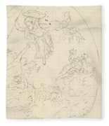 Design For A Ceiling Painting With A Triumph Of Minerva, In Oval, Dionys Van Nijmegen Possibly, 17 Fleece Blanket