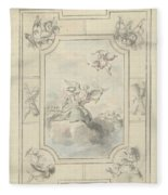 Design For A Ceiling Painting With Allegory Of Peace, Dionys Van Nijmegen, 1715 - 1798 Fleece Blanket