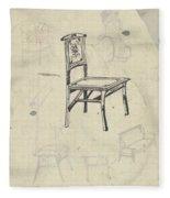 Design For A Chair, Carel Adolph Lion Cachet, 1874 - 1945 Fleece Blanket