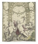 Design For A Gazebo Of Green Trellis, In Which Three Putti Play With Animals, Daniel Marot II, 170 Fleece Blanket