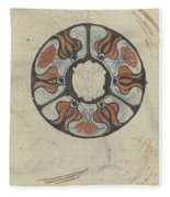 Design For A Memorial Plaque With W And A Coat Of Arms, Carel Adolph Lion Cachet, 1874 - 1945 Fleece Blanket