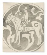 Design For A Plate With A Canadian Mountie, Carel Adolph Lion Cachet, 1874 - 1945 Fleece Blanket