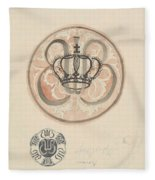 Design For A Plate With Crown And Monogram, Carel Adolph Lion Cachet, 1874 - 1945 Fleece Blanket