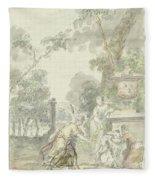 Design For A Room Piece Dorinda Returns Silvio His Dog, Dionys Van Nijmegen, 1715 - 1798 Fleece Blanket