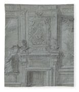 Design For A Room Wall With A Chimney Piece And Paintings, Cornelis Troost, 1720 - 1750 Fleece Blanket