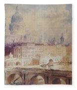 Design For The Thames Embankment, View Looking Downstream Fleece Blanket